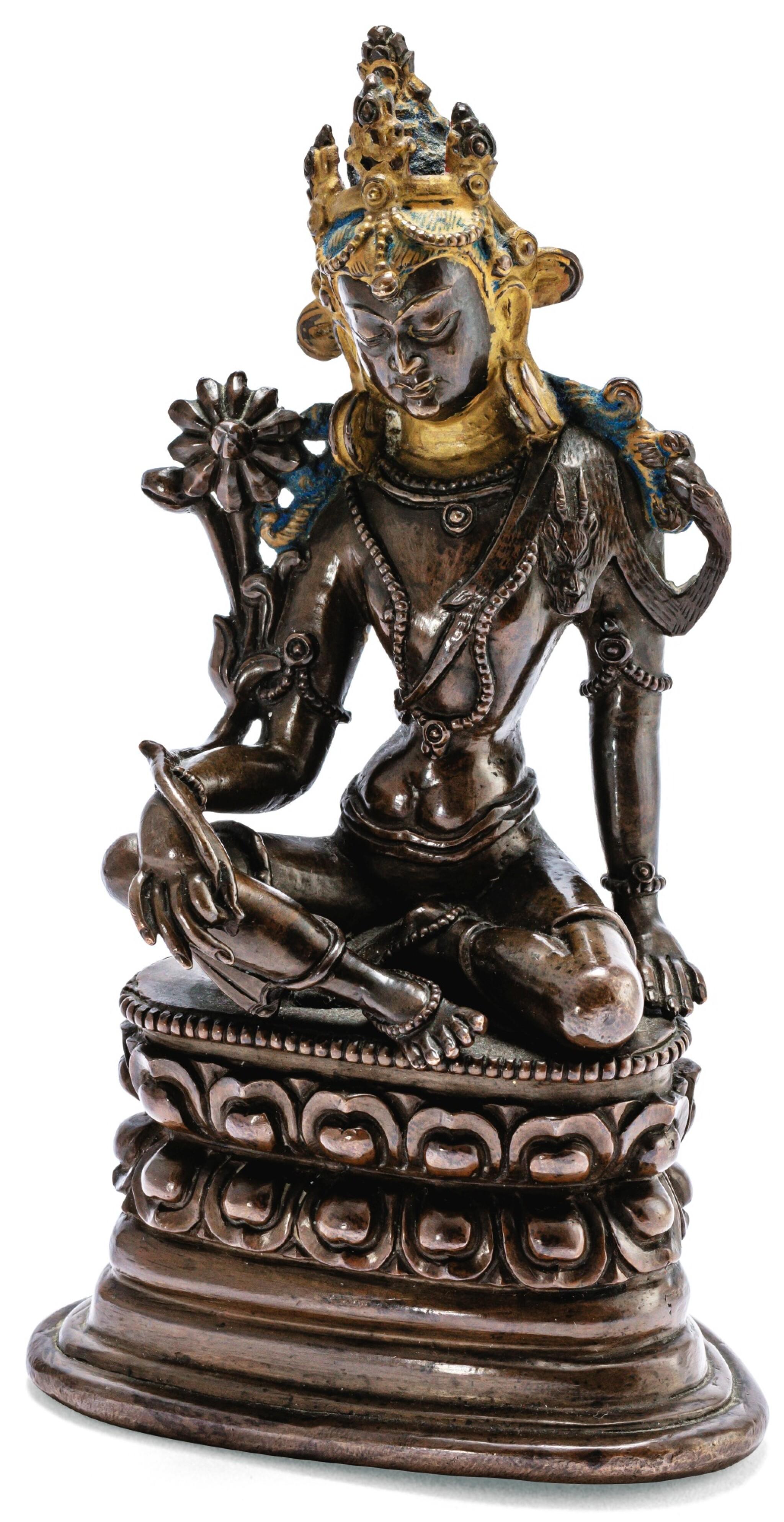 STATUETTE DE BODHISATTVA EN ALLIAGE DE CUIVRE TIBET, STYLE PALA, CA. XVIIIE SIÈCLE   西藏 約十八世紀 銅合金帕拉式菩薩坐像   A copper-alloy Pala style figure of Bodhisattva, Tibet, ca. 18th century