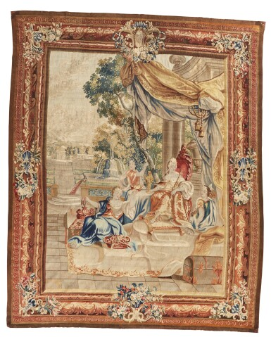 View 1. Thumbnail of Lot 15. A Flemish Classical Tapestry, 'Oriana receiving war booty from Amadis, in King Lisuart's castle', from the story of Amadis and Oriana,after design by Louis van Schoor and Pieter Spierincx, Brussels, 18th century.