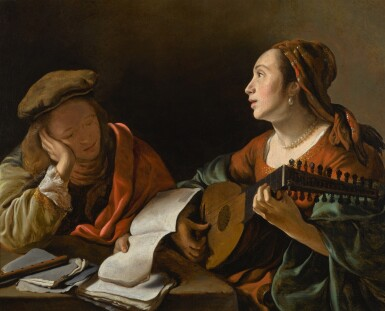 GOVERT FLINCK | A young lady playing the lute to a young man reading, or An allegory of sight and hearing