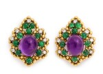 DAVID WEBB | PAIR OF AMETHYST, EMERALD AND DIAMOND EARCLIPS