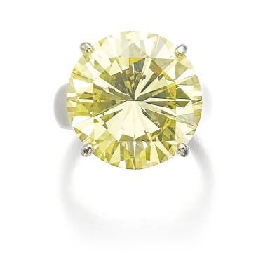 View 1. Thumbnail of Lot 313. FANCY INTENSE YELLOW DIAMOND RING.