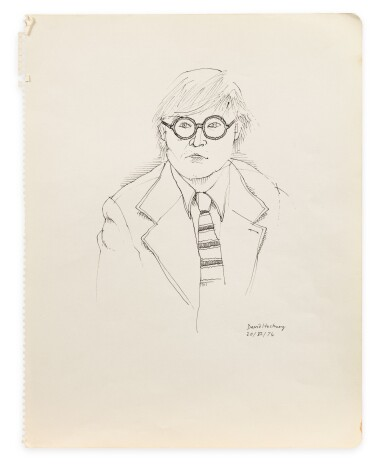 View 2. Thumbnail of Lot 33. Portrait de David Hockney en buste.