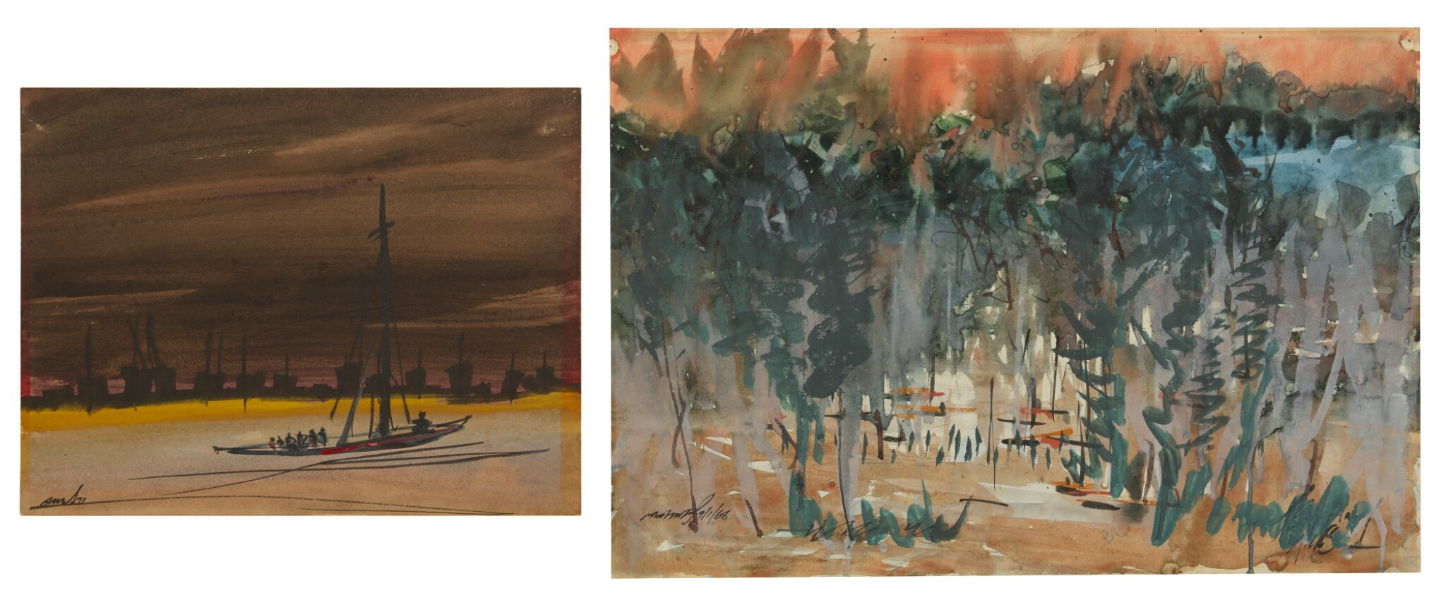 View full screen - View 1 of Lot 1827. GOPAL GHOSE   UNTITLED (SET OF TWO) .