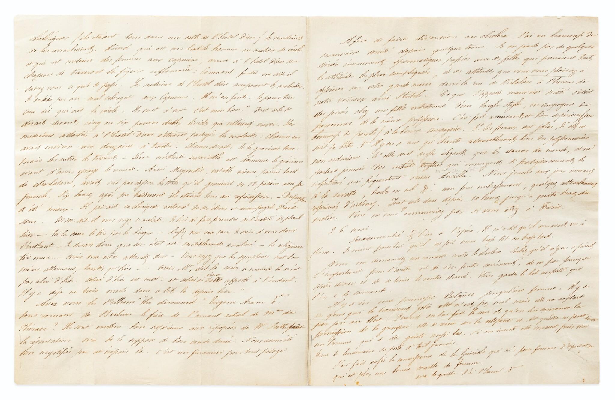 """View full screen - View 1 of Lot 145. Lettre autographe, à Stendhal. Paris 25-28 mai [1832]. 3 p.1/2. Mérimée lui décrit ses soirées """"spermatiques""""."""