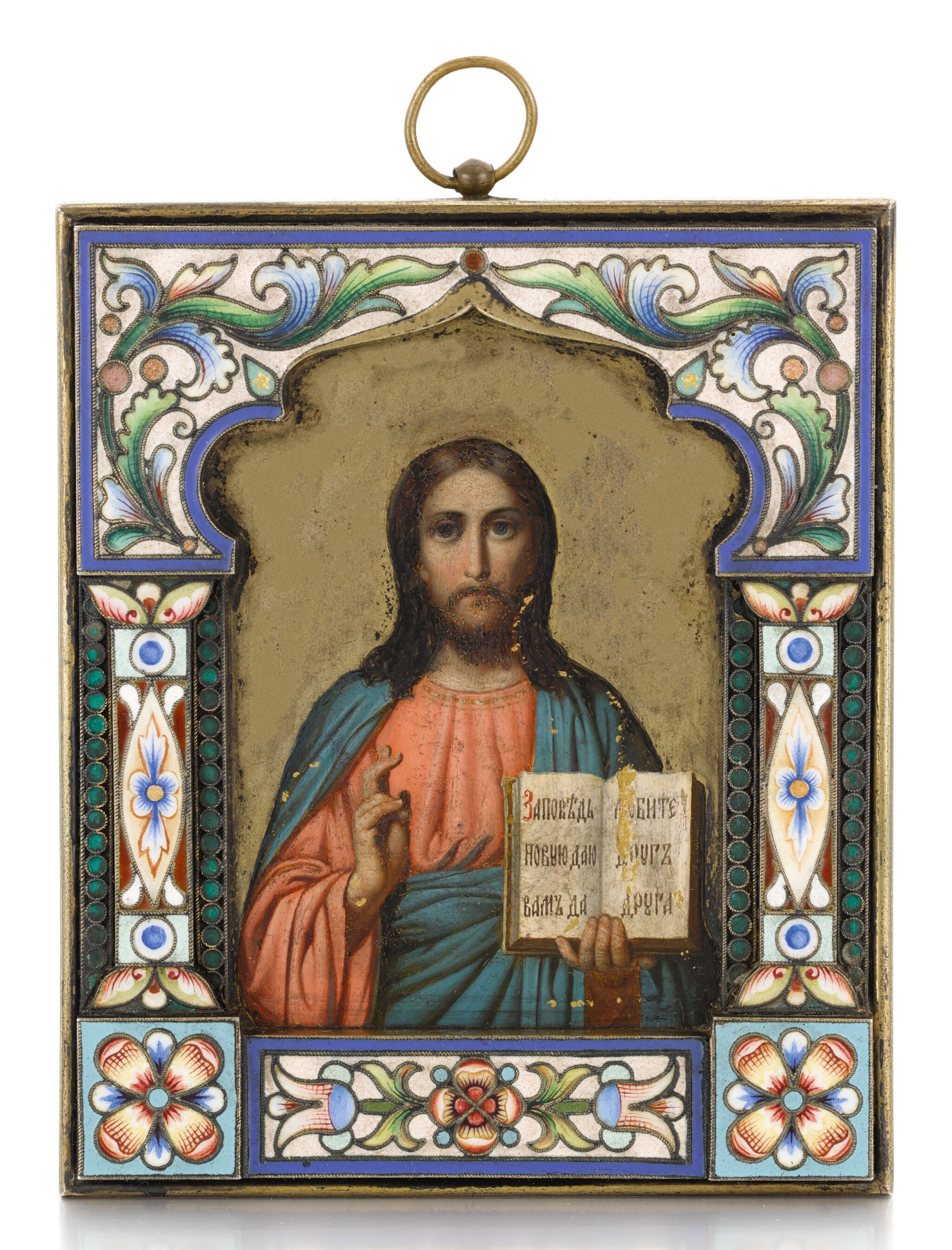 View full screen - View 1 of Lot 503. A SILVER-GILT AND CLOISONNÉ ENAMEL ICON OF CHRIST PANTOCRATOR, OVCHINNIKOV, MOSCOW, 1899-1914.