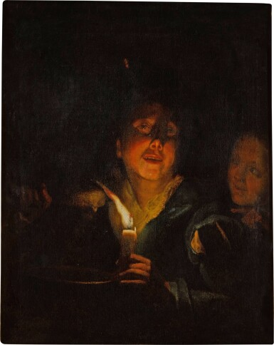View 2. Thumbnail of Lot 70. A young man eating porridge before a candle, with a girl in the background.