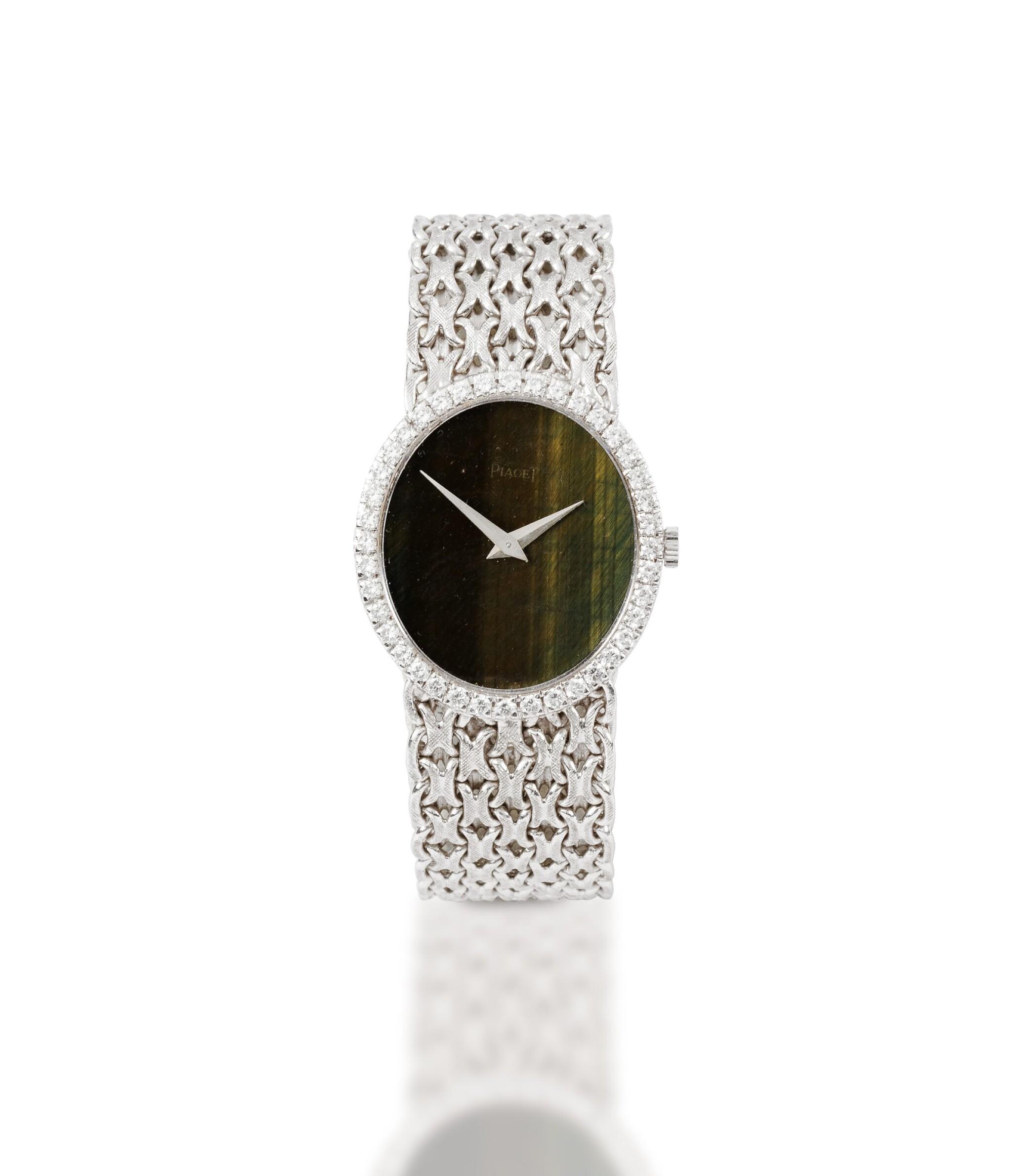 View full screen - View 1 of Lot 125. Piaget | Montre bracelet de dame or et diamants | Lady's gold and diamond bracelet watch.