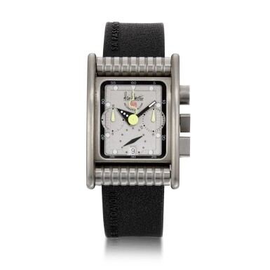 View 1. Thumbnail of Lot 458. BOLIDO CHRONO LIMITED EDITION STAINLESS STEEL RECTANGULAR ANNUAL CALENDAR CHRONOGRAPH WRISTWATCH WITH MOON PHASES, CIRCA 2001.
