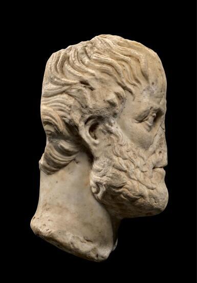 View 3. Thumbnail of Lot 247. A ROMAN MARBLE PORTRAIT HEAD OF ARISTOTLE, CIRCA 1ST CENTURY A.D..