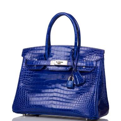 View 5. Thumbnail of Lot 7. Hermès Bleu Electrique Birkin 30cm of Shiny Porosus Crocodile with Palladium Hardware.