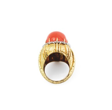 View 2. Thumbnail of Lot 108. Coral and diamond ring [Bague corail et diamants].