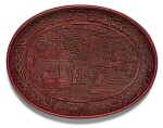 A RARE AND FINELY CARVED CINNABAR LACQUER DISH YONGLE MARK AND PERIOD | 明永樂 剔紅賞石圖橢圓盤 《大明永樂年製》款