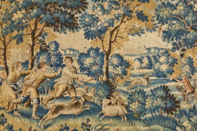 View 2. Thumbnail of Lot 106. A Louis XIV French Hunting Tapestry, Aubusson, late 17th century.