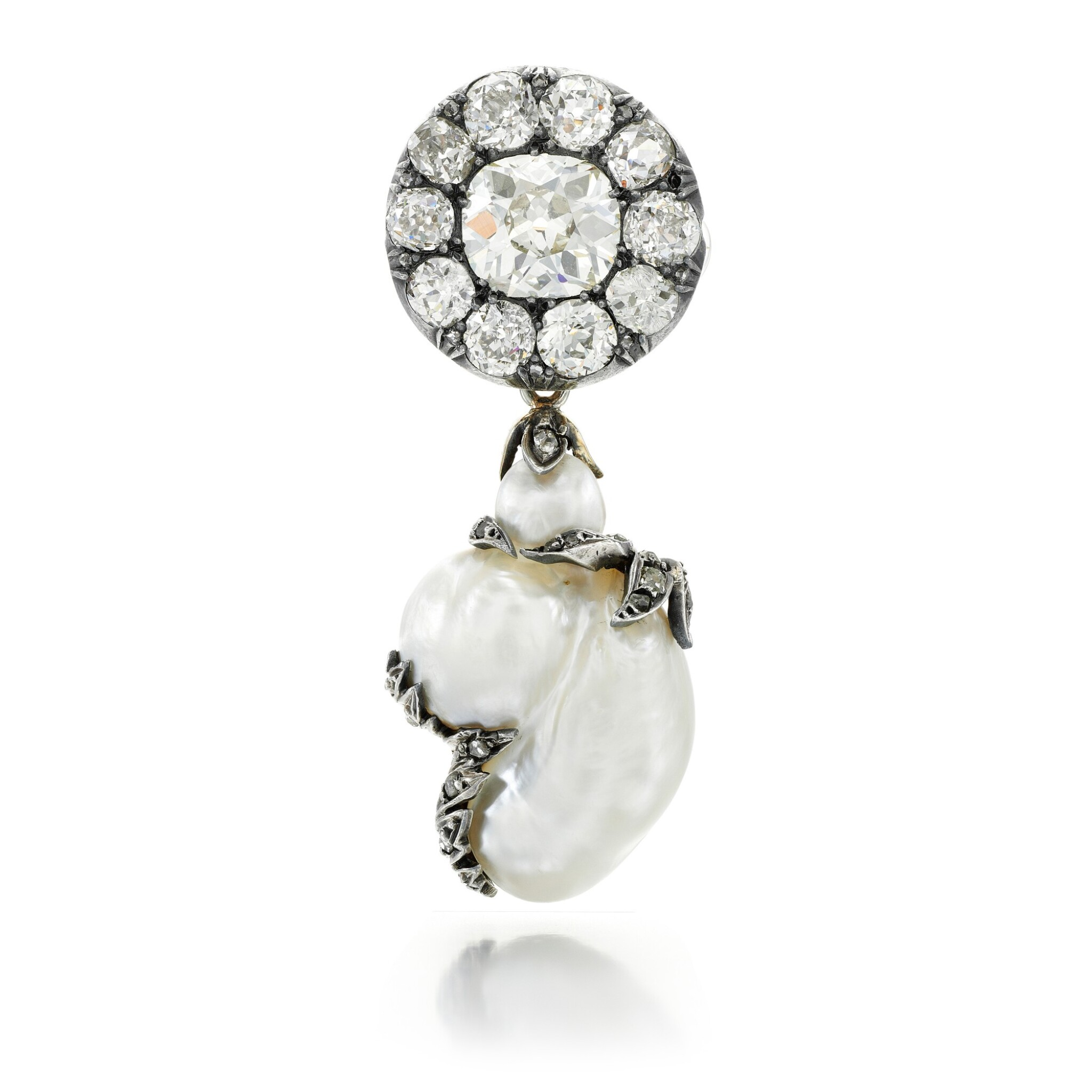 View full screen - View 1 of Lot 64. BLISTER PEARL AND DIAMOND BROOCH.