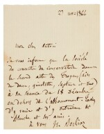 "BERLIOZ | autograph letter signed to Antoni Deschamps, about the opera ""Les Troyens"", 1864"
