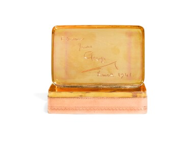 View 3. Thumbnail of Lot 307. A two-colour gold snuff box, possibly North African, late 19th century.