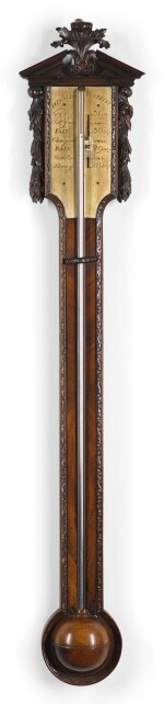 A GEORGE III CARVED MAHOGANY STICK BAROMETER, PEDRALIO & CO., LATE 18TH CENTURY
