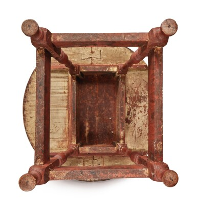 View 7. Thumbnail of Lot 1. William and Mary Red-Painted Maple and Pine Tilt-Top Tavern Table, New England, circa 1730.
