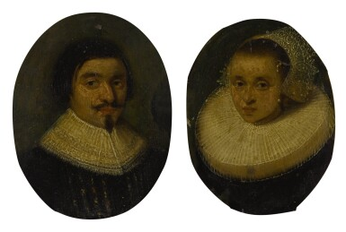 View 1. Thumbnail of Lot 54. Sold Without Reserve | AMSTERDAM SCHOOL, CIRCA 1630 | PORTRAIT OF A GENTLEMAN, BUST LENGTH, WEARING A RUFF; PORTRAIT OF A LADY, BUST LENGTH, WEARING A RUFFLED COLLAR AND WHITE LACE BONNET.