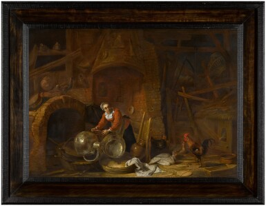 View 3. Thumbnail of Lot 26. Kitchen interior with a woman scouring pots and pans.