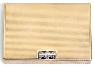 A JEWELLED 9 CT GOLD CIGARETTE CASE, CARTIER, LONDON, 1942