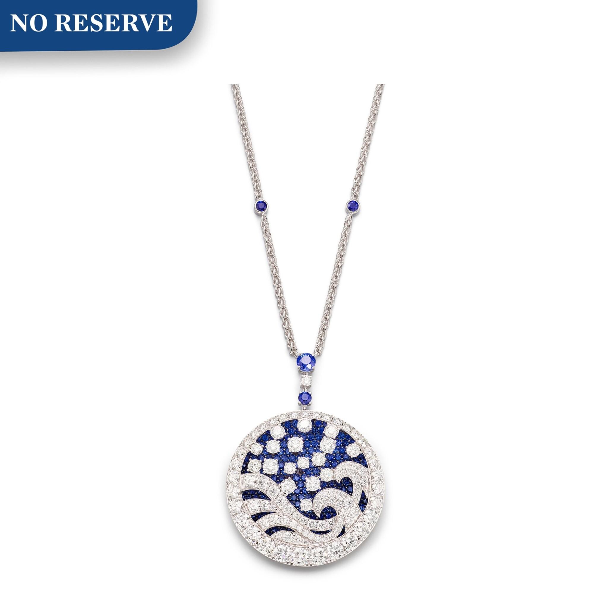 View 1 of Lot 1035. 'Wave' Sapphire and Diamond Pendent Necklace | 格拉夫| 'Wave' 藍寶石 配 鑽石 項鏈 (藍寶石及鑽石共重約11.30及11.90克拉).