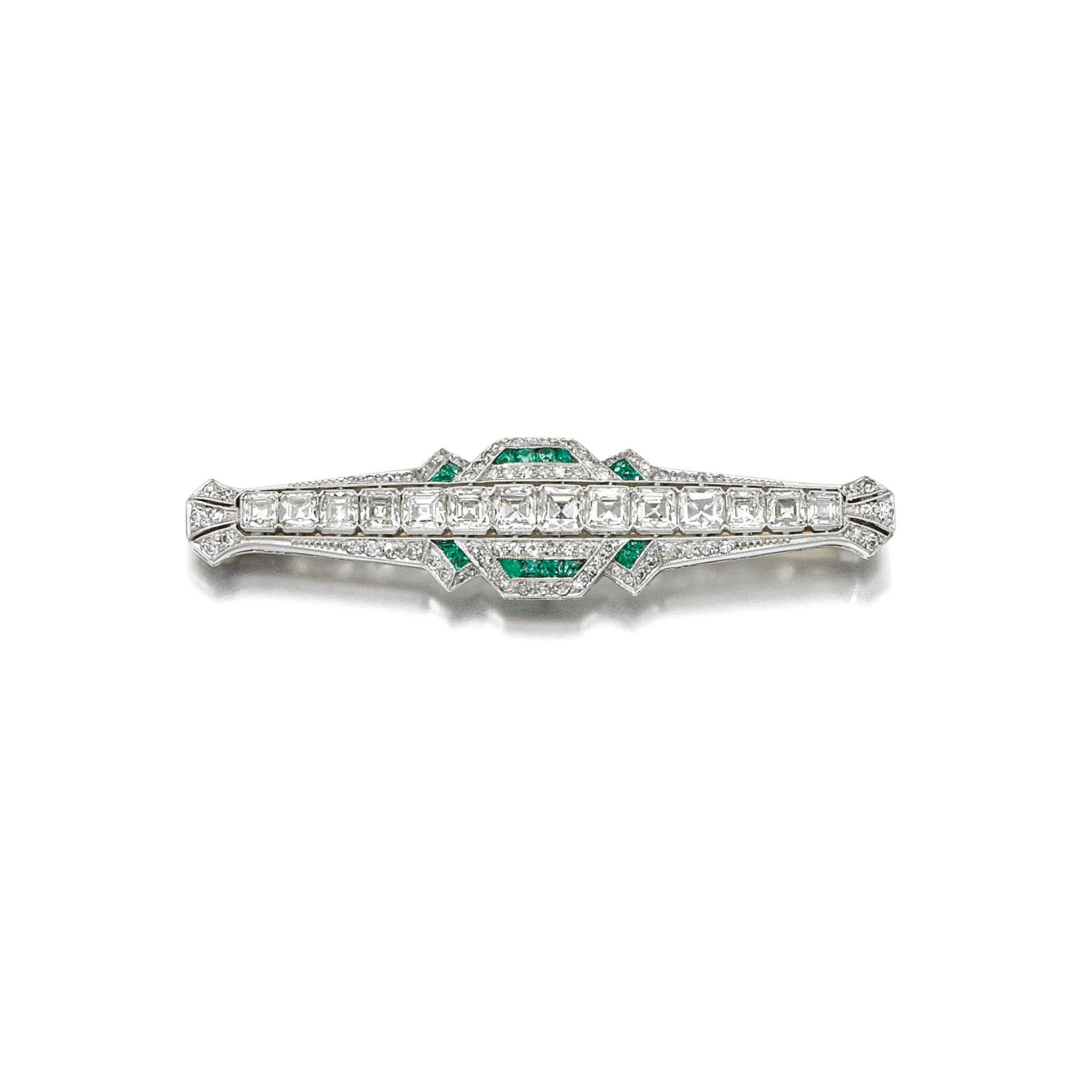 View full screen - View 1 of Lot 1. EMERALD AND DIAMOND BROOCH, 1920S.