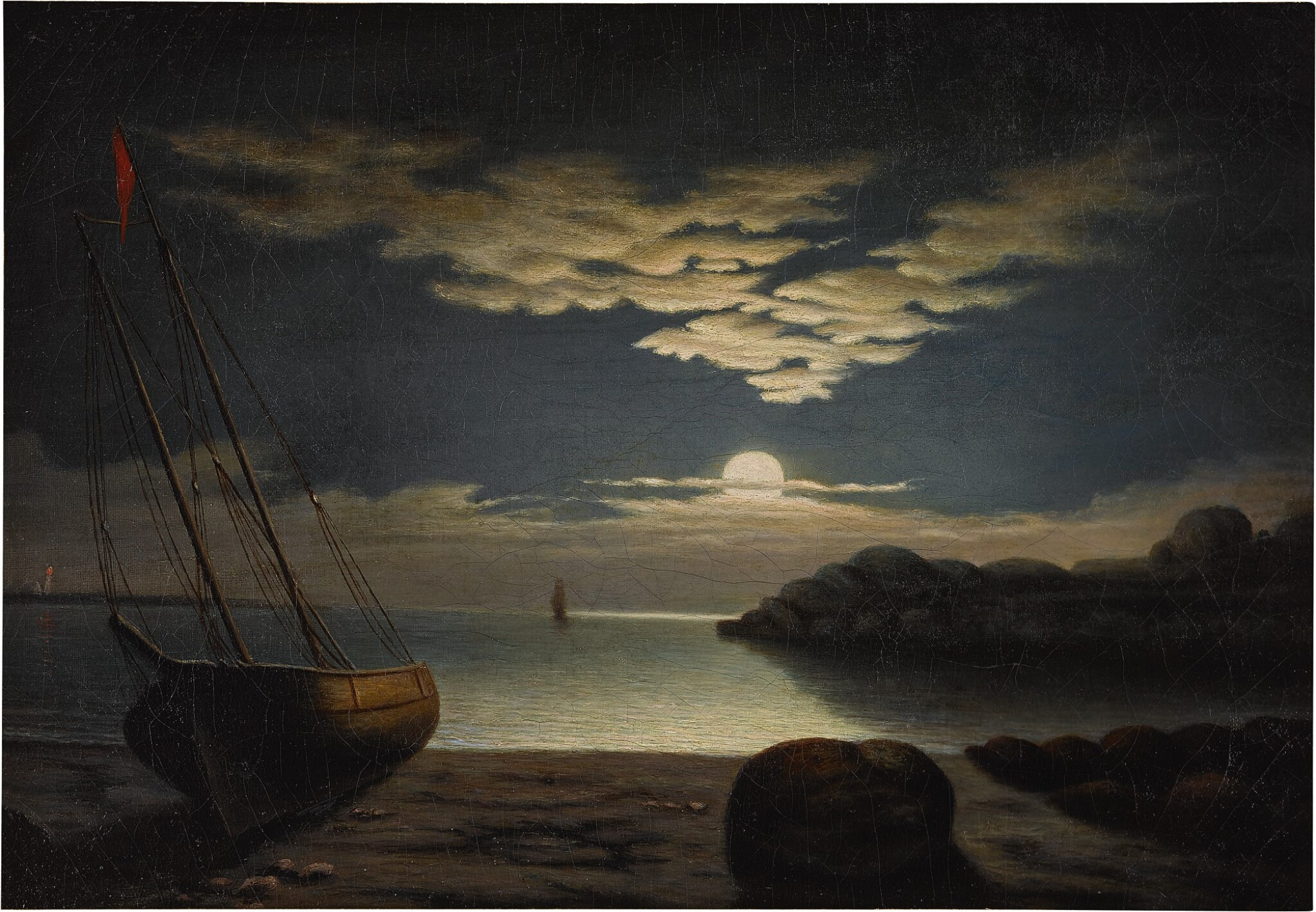 View 1 of Lot 79. Moonlight Seascape, Gloucester Harbor.