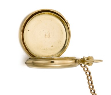 View 5. Thumbnail of Lot 201. YELLOW GOLD HALF HUNTING CASED KEYLESS WATCH NO. 4969, MADE IN 1866.