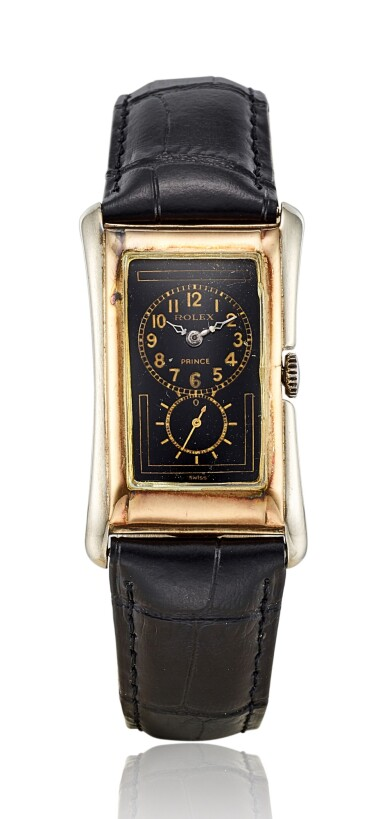 ROLEX | PRINCE, REFERENCE 971, A YELLOW GOLD AND SILVER WRISTWATCH WITH BLACK DIAL, CIRCA 1934