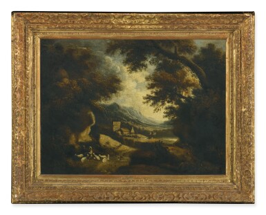 View 2. Thumbnail of Lot 82. Sold Without Reserve   FOLLOWER OF JOHANNES GLAUBER   WOODED LANDSCAPE WITH FIGURES AND GOATS RESTING IN THE FOREGROUND, BUILDINGS AND A MOUNTAIN BEYOND.