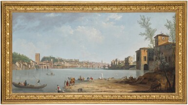 View 3. Thumbnail of Lot 56. THOMAS PATCH  |  FLORENCE, A VIEW OF THE RIVER ARNO WITH THE PONTE ALLE GRAZIE.