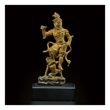 View 1. Thumbnail of Lot 599. A SMALL GILT-BRONZE FIGURE OF A GUARDIAN,  TANG DYNASTY.