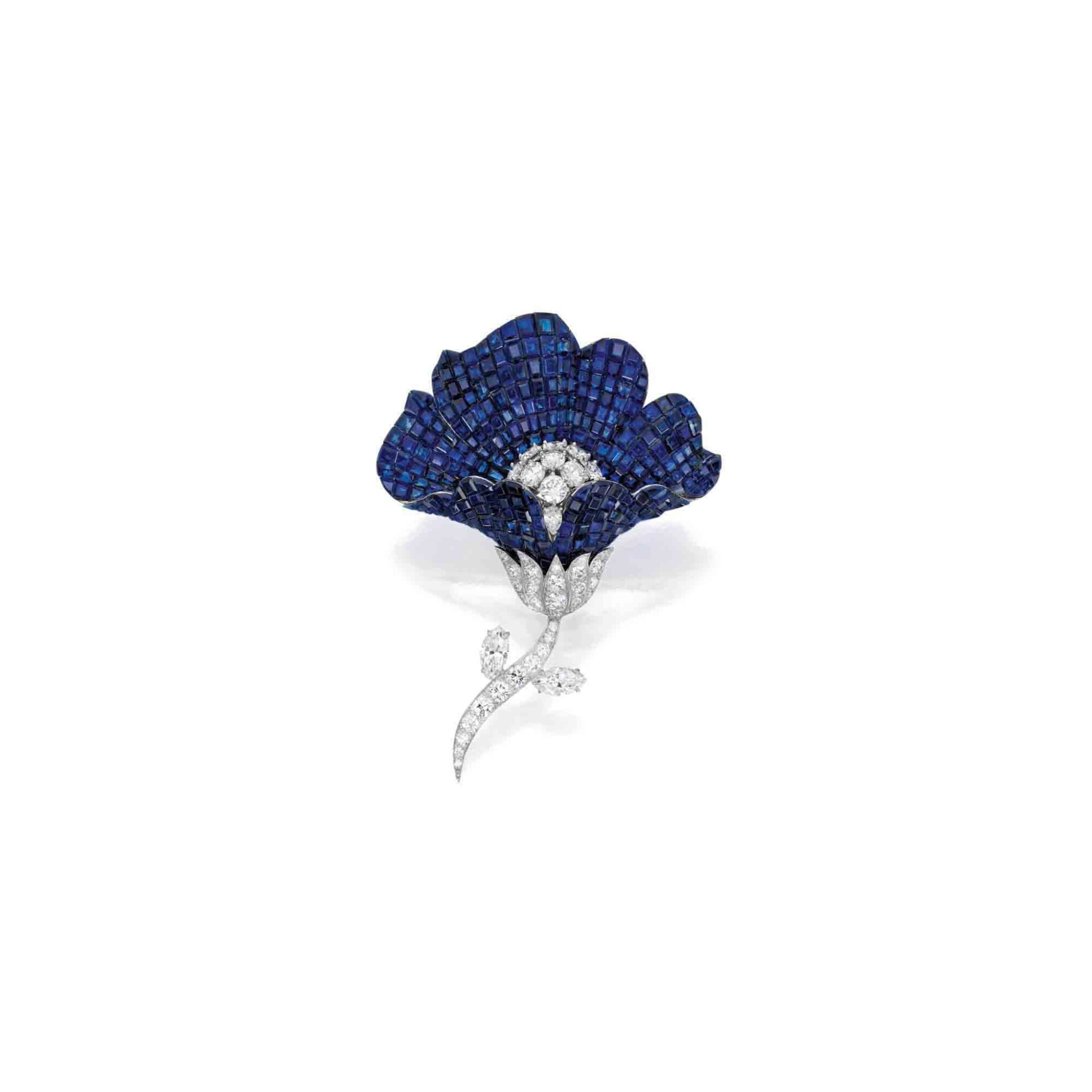 View 1 of Lot 62. Van Cleef & Arpels [梵克雅寶] | Mystery-Set Sapphire and Diamond Brooch [藍寶石配鑽石別針].