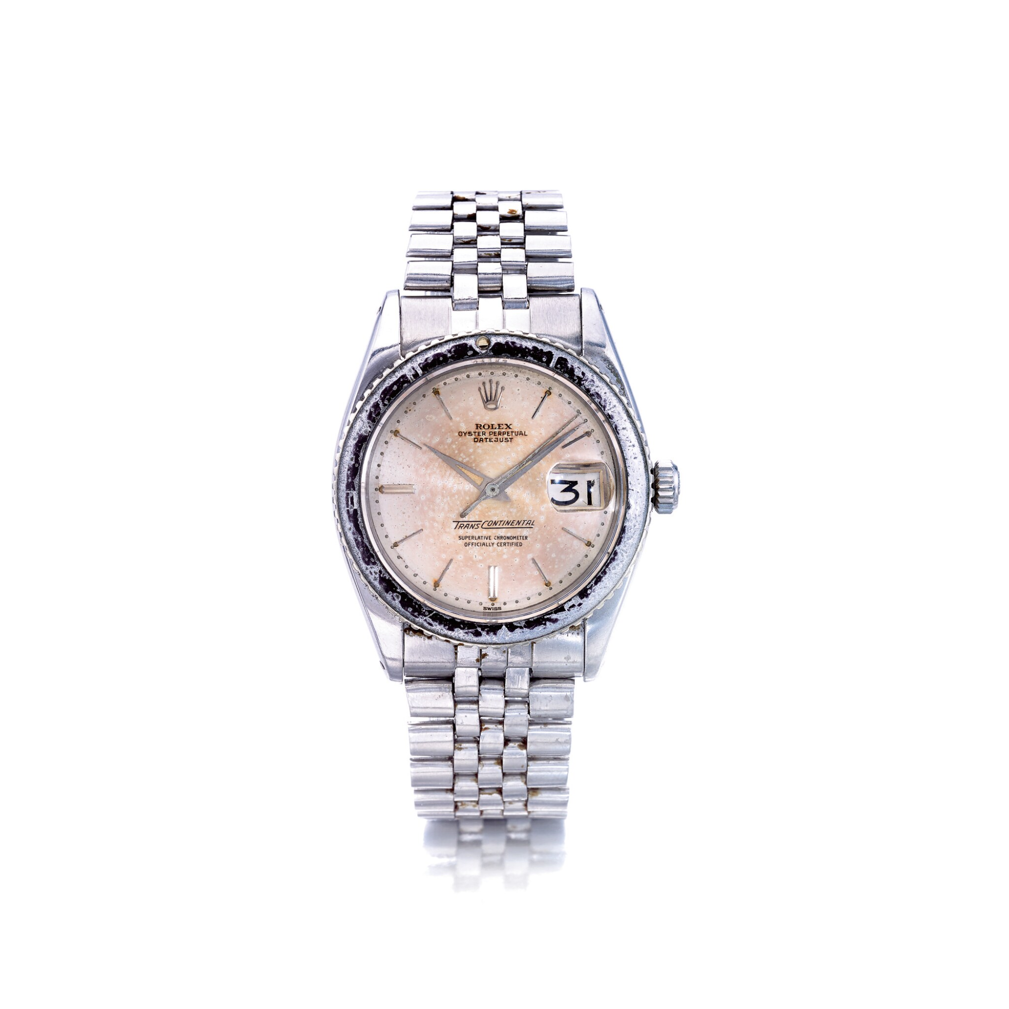 ROLEX   REF 6609/6602 TRANSCONTINENTAL, A STAINLESS STEEL AUTOMATIC CENTER SECONDS WRISTWATCH WITH DATE, CIRCA 1957   勞力士   6609/6602型號「TRANSCONTINENTAL」精鋼自動上鏈腕錶備日期顯示,年份約1957