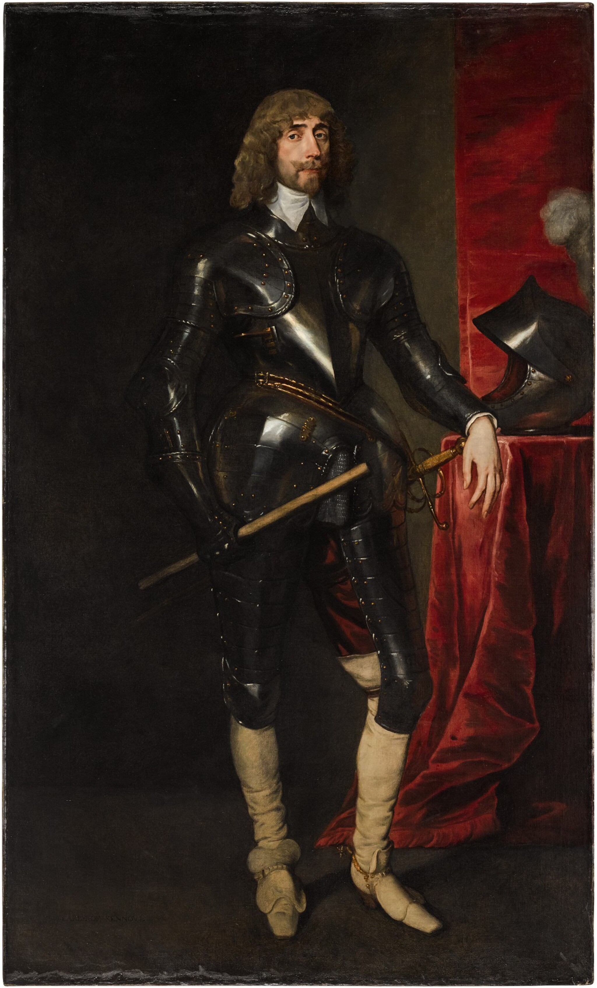 View 1 of Lot 26. Portrait of George Hay, 2nd Earl of Kinnoull (circa 1595–1644), full-length, wearing armour, and holding a baton in his right hand, his left resting on a table with a red cloth, upon which is his helmet | 《喬治・黑伊,金諾伯爵二世(約1595-1644年)身披鎧甲、右手持棍、左手搭在桌邊的全身肖像,桌上鋪紅色桌布並擺放頭盔》.