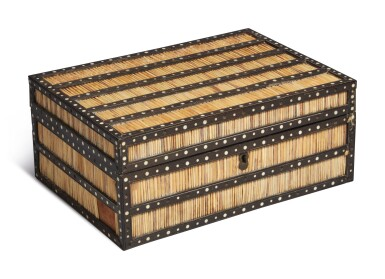 Two Ceylonese Porcupine Quill and Inlaid Mahogany Boxes, mid-19th century