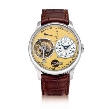 "View 1. Thumbnail of Lot 2212. F.P. Journe | Tourbillon Souverain ""Remontoir d'Egalite"" | A limited edition stainless steel tourbillon wristwatch with constant force remontoire and power reserve indication, Circa 2015 | Tourbillon Souverain 'Remontoir d'Egalite'  限量版精鋼陀飛輪腕錶,備恆動力裝置及動力儲備顯示,約2015年製."
