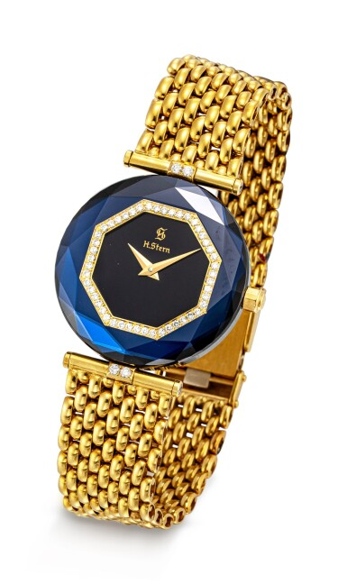 View 5. Thumbnail of Lot 1118. H. STERN | A SET OF TWO YELLOW GOLD, DIAMOND AND SAPPHIRE-SET BRACELET WATCHES, CIRCA 1995.