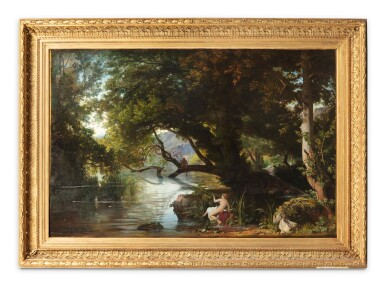 View 2. Thumbnail of Lot 202. A classical landscape with Echo and Narcisse .