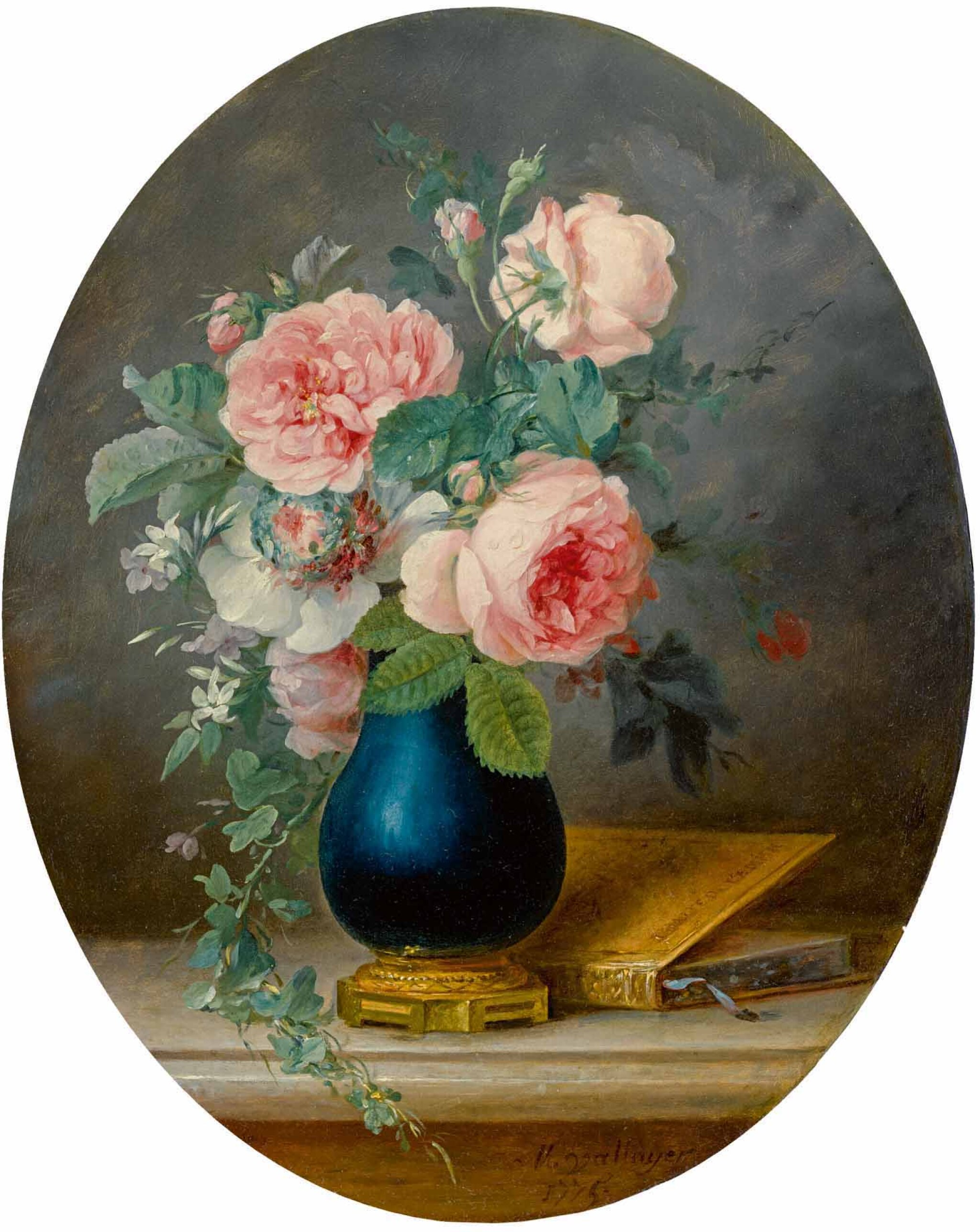 View full screen - View 1 of Lot 33. ANNE VALLAYER-COSTER | A STILL LIFE OF ROSES AND OTHER FLOWERS IN A BLUE VASE WITH A BOOK.