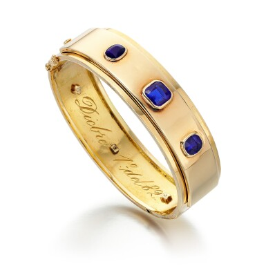 View 1. Thumbnail of Lot 61. SAPPHIRE AND PASTE BANGLE .