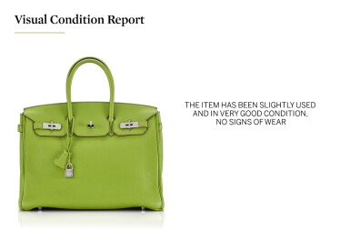 View 5. Thumbnail of Lot 10. BIRKIN 35 VERT ANIS COLOUR IN TOGO LEATHER WITH PALLADIUM HARDWARE. HERMÈS, 2011 .