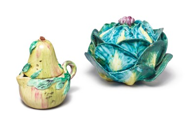 A HOLITSCH FAIENCE SMALL CABBAGE TUREEN AND COVER AND A CONTINENTAL FAIENCE PEAR-FORM JUG AND COVER, CIRCA 1770