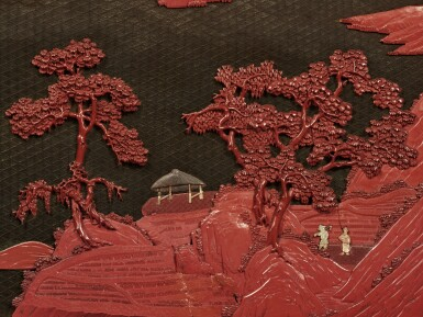 View 4. Thumbnail of Lot 232. A pair of large embellished carved wood polychrome lacquer panels, Qing dynasty, 18th / 19th century   清十八 / 十九世紀 木雕罩漆鑲玉石山水人物圖大掛屏一對.