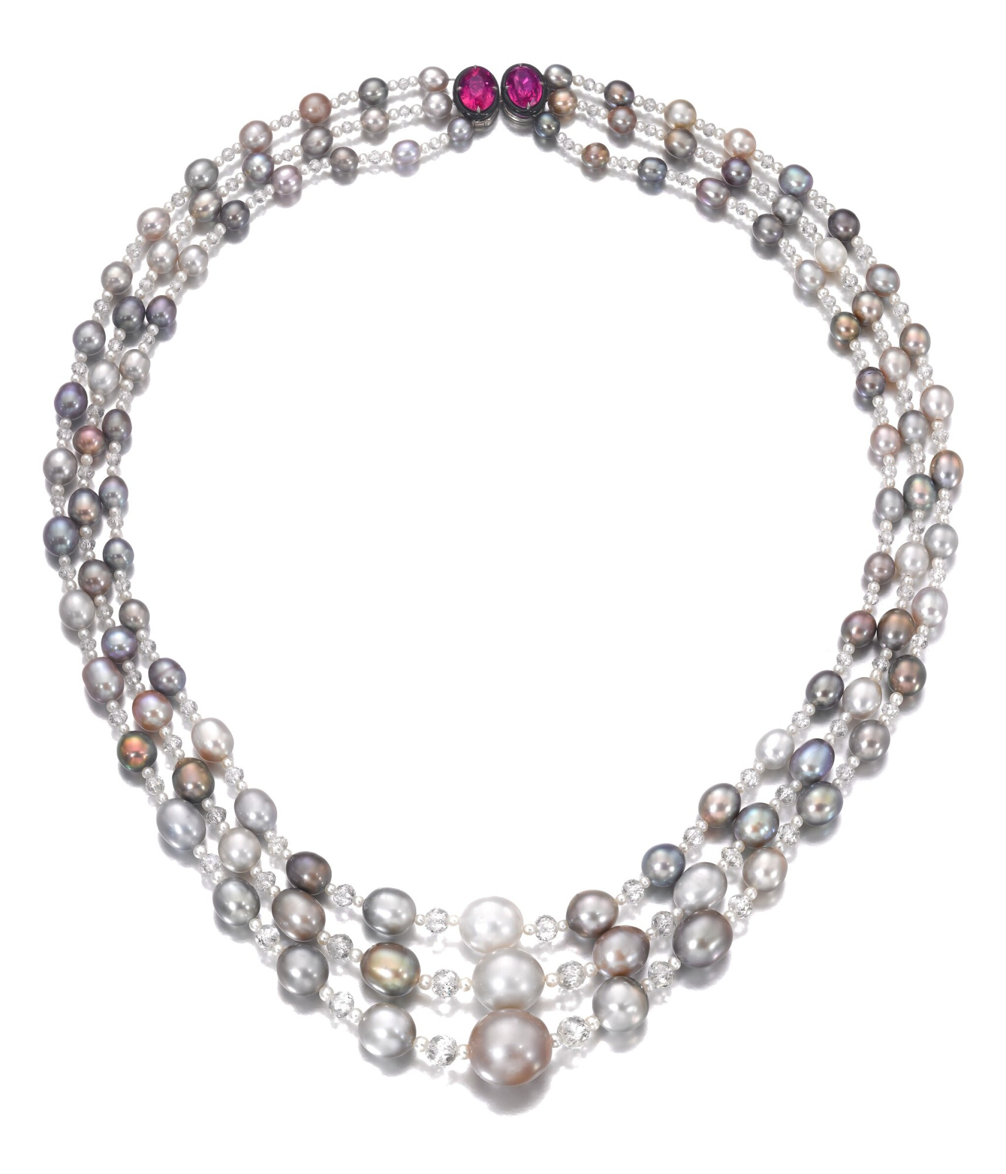 View full screen - View 1 of Lot 126. Natural pearl, diamond and ruby sautoir/necklace combination | 天然珍珠配鑽石及紅寶石長項鏈/項鏈組合.