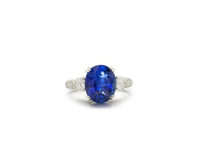 View 1. Thumbnail of Lot 9. SAPPHIRE AND DIAMOND RING.