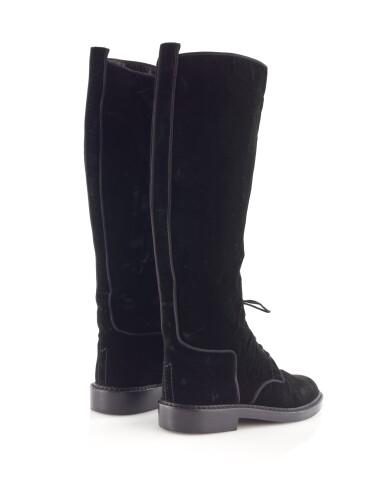Pair of black velvet boots