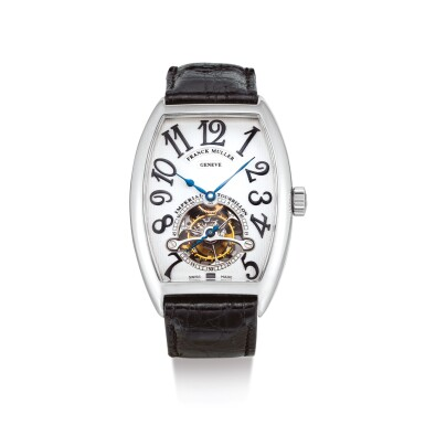 "FRANCK MULLER  |  IMPERIAL TOURBILLON, REFERENCE 5850T  A PLATINUM TOURBILLON WRISTWATCH, CIRCA 2008 | ""Imperial Tourbillon 型號5850T 鉑金陀飛輪腕錶,機芯編號62157,錶殼編號21,約2008年製"""