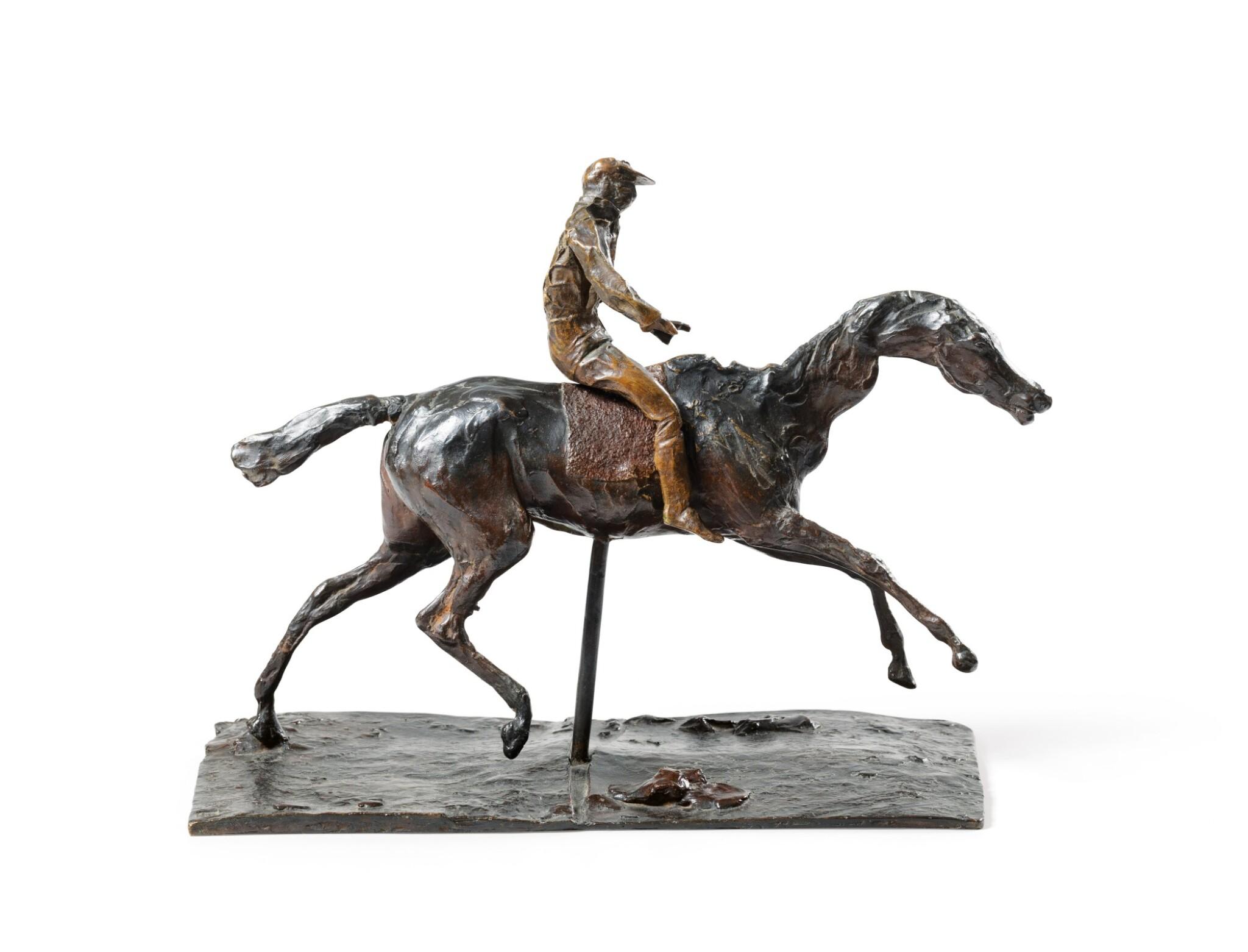 View full screen - View 1 of Lot 226. Cheval au galop sur le pied droit, le pied gauche arrière seul touchant terre ; jockey monté sur le cheval.